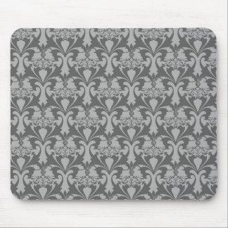 Grey Damask Pattern Mouse Pad