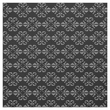 Grey damask pattern on black background fabric