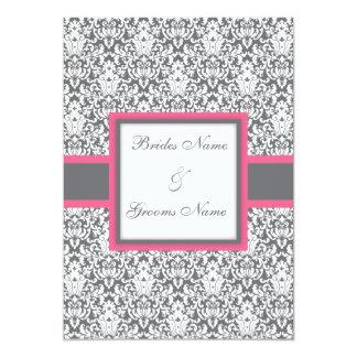 Grey Damask (pink) Wedding Invitation
