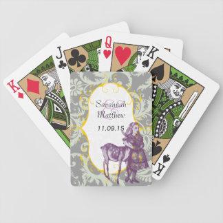 Grey Damask Purple Alice Wedding Playing Card Playing Cards