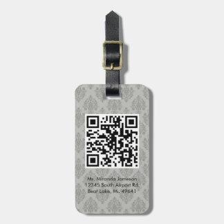 Grey Damask QR CODE Custom Luggage Tag