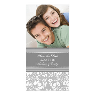 Grey Damask Save the Date Wedding Photo Cards