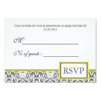 "'Grey Damask (yellow)' Damask RSVP Invite 3.5"" X 5"" Invitation Card"