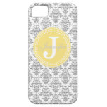 Grey Damask & Yellow Monogram iPhone Case iPhone 5 Covers