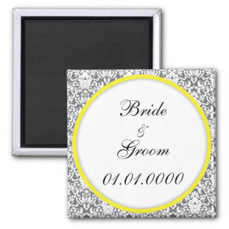 """""""Grey Damask (yellow)"""" save the date Magnet"""
