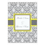 Grey Damask (yellow) Wedding Invitation