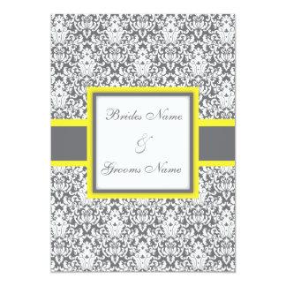 "Grey Damask (yellow) Wedding Invitation 5"" X 7"" Invitation Card"