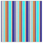 [ Thumbnail: Grey, Dark Blue, Chocolate, Beige & Cyan Lines Fabric ]