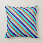 [ Thumbnail: Grey, Dark Blue, Chocolate, Beige & Cyan Lines Throw Pillow ]
