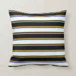 [ Thumbnail: Grey, Dark Goldenrod, Black, Mint Cream, Dark Blue Throw Pillow ]