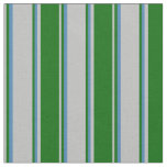 [ Thumbnail: Grey, Dark Green & Blue Colored Pattern Fabric ]