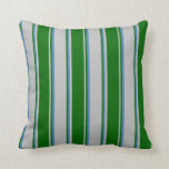 [ Thumbnail: Grey, Dark Green & Blue Colored Pattern Pillow ]