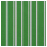 [ Thumbnail: Grey & Dark Green Colored Lines/Stripes Pattern Fabric ]