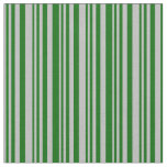 [ Thumbnail: Grey & Dark Green Colored Striped/Lined Pattern Fabric ]