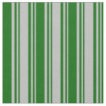 [ Thumbnail: Grey & Dark Green Lined Pattern Fabric ]