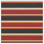 [ Thumbnail: Grey, Dark Orange, Dark Red, Black & White Lines Fabric ]