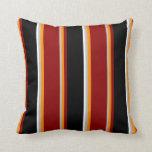 [ Thumbnail: Grey, Dark Orange, Dark Red, Black & White Lines Throw Pillow ]