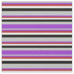 [ Thumbnail: Grey, Dark Orchid, Red, White, and Black Stripes Fabric ]
