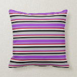 [ Thumbnail: Grey, Dark Orchid, Red, White, and Black Stripes Throw Pillow ]