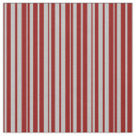 [ Thumbnail: Grey & Dark Red Colored Pattern of Stripes Fabric ]