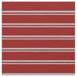 [ Thumbnail: Grey & Dark Red Colored Stripes Fabric ]