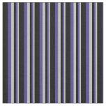[ Thumbnail: Grey, Dark Slate Blue & Black Stripes Fabric ]