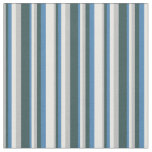 [ Thumbnail: Grey, Dark Slate Gray, Blue, and Mint Cream Lines Fabric ]