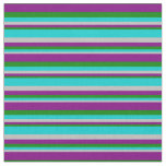 [ Thumbnail: Grey, Dark Turquoise, Green & Purple Lines Fabric ]