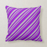 [ Thumbnail: Grey & Dark Violet Striped/Lined Pattern Pillow ]