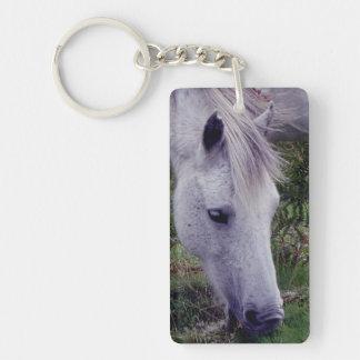 Grey Dartmoor Pony Grazeing Autunm Keychain