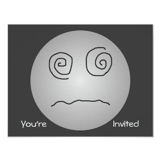 """Grey Dazed and Confused Smiley 4.25"""" X 5.5"""" Invitation Card"""