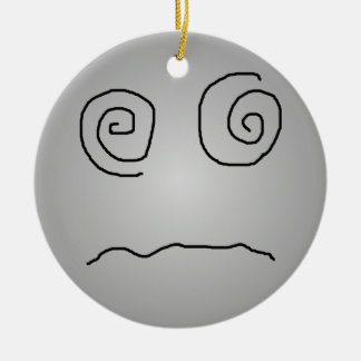 Grey Dazed and Confused Smiley Christmas Ornament