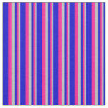 [ Thumbnail: Grey, Deep Pink & Blue Stripes Pattern Fabric ]