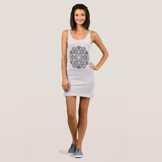 Grey designers dress with Mandala art