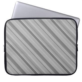 Grey diagonal stripes computer sleeve
