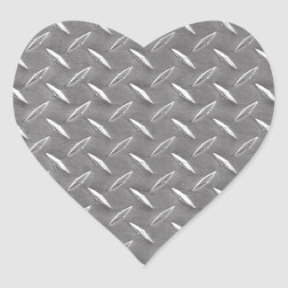 Grey Diamond Plate Heart Sticker