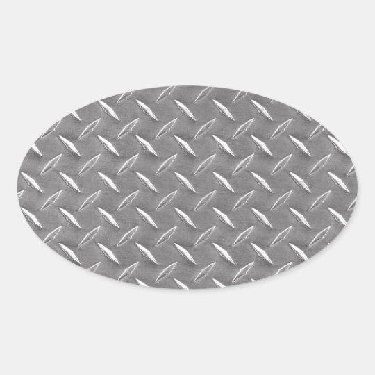 Grey Diamond Plate Oval Sticker