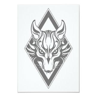 Grey Diamond Wolf Face Graphic Custom Invites