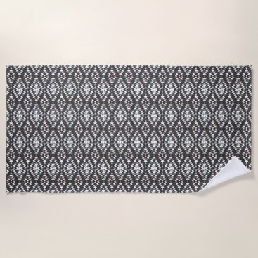 Beach Themed Grey Diamonds Beach Towel