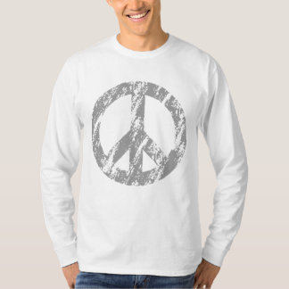 Grey Distressed Peace Symbol 1 T-Shirt