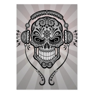 Grey DJ Sugar Skull with Rays of Light Business Card