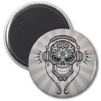 Grey DJ Sugar Skull with Rays of Light Refrigerator Magnet
