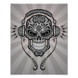 Grey DJ Sugar Skull with Rays of Light Poster