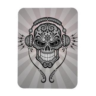 Grey DJ Sugar Skull with Rays of Light Vinyl Magnets