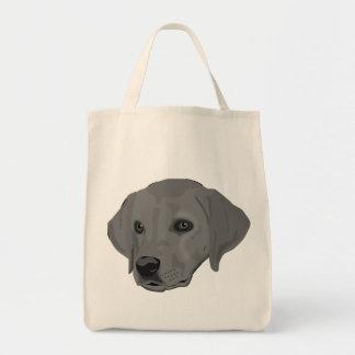 Grey dog head realistic tote bag