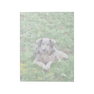 Grey dog painting memo notepads