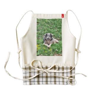 Grey dog painting zazzle HEART apron