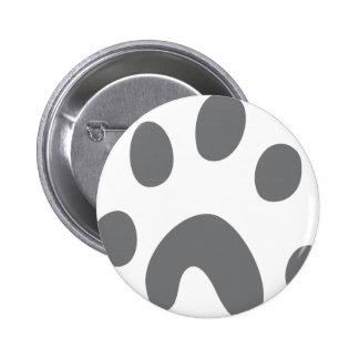 grey dog paw pinback button