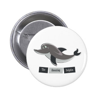Grey Dolphin Pinback Buttons