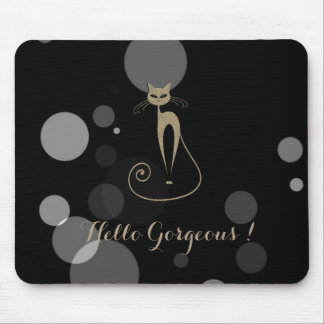 Grey Dots On Black Background,Cat,Hello Gorgeous Mouse Pad